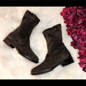 PAUL GREEN Black Suede Moto Boots
